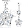 Acél piercing, ezüst árnyalat, virág bevágásokkal, átlátszó cirkóniák