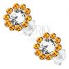 Beszúrós fülbevaló, ezüst, virág Preciosa kristályokkal, átlátszó és narancs árnyalat