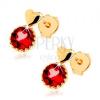 Fülbevaló 14K sárga aranyból, kicsi kidomborodó szív, kerek piros gránát