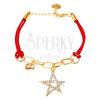 Karkötő zsinórokból, lánc, két medál - csillag, csörgők