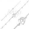 925 ezüst karkötő, szabálytalan szív körvonal, pillangó, átlátszó cirkóniák