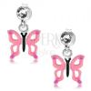 925 ezüst fülbevaló, rózsaszín pillangó kivágásokkal a szárnyain, kristály