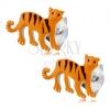 925 ezüst fülbevaló, narancs tigris fekete csíkokkal, beszúrós