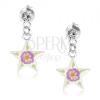 Beszúrós fülbevaló 925 ezüstből, fényes áttetsző csillag, színes virág, kristály