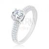 925 ezüst gyűrű, cirkóniás sávok a szárakon, kör alakú cirkónia