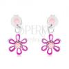 925 ezüst fülbevaló, lila-rózsaszín virág fénymázzal, beszúró