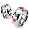 Gyűrű, 316L acél, ezüst árnyalat, magas fény, csillagos és színes fénymáz