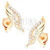Fülbevaló 14K sárga aranyból - csillogó angyalszárnyak átlátszó cirkóniákkal díszítve
