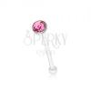 Egyenes orrpiercing, 925 ezüst, kerek rózsaszín cirkónia