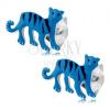 Fülbevaló 925 ezüstből, kék színű tigris fekete csíkokkal, beszúrós