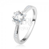 Eljegyzési gyűrű - 925 ezüst, díszített szárak, csillogó cirkóniás virág