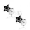 Fülbevaló 925 ezüstből, beszúrós, csiszolt csillagok fekete cirkóniákkal, 6 mm