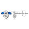 Ezüst 925 fülbevaló - kis kék legyecske cirkóniával