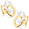 Bedugós fülbevaló 9K aranyból - két összekapcsolt magszem kontúr, kétszínű