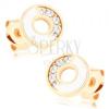 Fülbevaló 585 aranyból - karika fehér és cirkóniás féllel