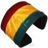 Bőr RASZTA karpánt - domború marihuánalevél, Jamaika színei