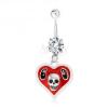 316L acél piercing köldökbe, szív, fénymáz, koponya, 69-es szám