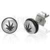 Acél fülbevaló, félgömb fekete gumival és marihuána levéllel