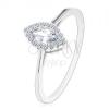 Eljegyzési gyűrű, 925 ezüst, átlátszó cirkóniás szem csillogó szegéllyel
