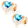 585 arany fülbevaló - fényes kontúrban kék topáz szívecske