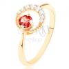 585 arany gyűrű - cirkóniás holdsarló, kerek piros gránáttal díszítve