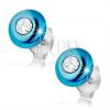 Beszúrós fülbevaló, 925 ezüst, domború kék karika átlátszó cirkóniával
