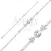 925 ezüst karkötő, fényes szem elemek, átlátszó virág és kerek cirkónia