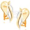 375 arany fülbevaló - fényes függőleges hullámok sárga és fehér aranyból
