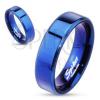 Minőségi acél gyűrű - kék, egyenes felület