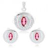 Szett fülbevalóból és medálból 925 ezüstből, rózsaszín cirkónia - magszem, kör körvonal