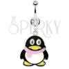 Köldök piercing - acél pinguin, rózsaszín sál