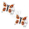 925 ezüst fülbevaló, fényes pillangó - narancssárga szárnyak, fekete és fehér pöttyök