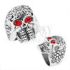 Masszív acél gyűrű, patinált koponya piros szemekkel