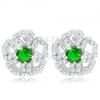 925 ezüst fülbevaló, csillogó cirkóniás virág zöld középpel