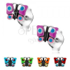 Beszúrós fülbevaló, 925 ezüst, színes fénymázas pillangó