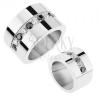 Tükörfényű gyűrű 316L acélból, váltakozó átlátszó és fekete csillogó cirkóniák