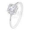 Eljegyzési gyűrű, 925 ezüst, átlátszó cirkóniás négyzet cirkónia szegéllyel
