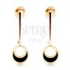 585 arany fülbevaló - karika függő egyenes pálcán, kivágás, fekete fénymáz