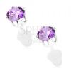Fülbevaló 925 ezüstből, kerek csillogó cirkónia lila árnyalatban, 5 mm