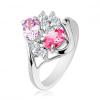 Ezüst színű gyűrű, hullámos szárvégek, átlátszó és színes cirkóniák