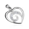 925 ezüst medál - szívkörvonal cirkonkő spirállal