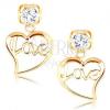Fülbevaló 14K sárga aranyból - átlátszó cirkónia, szívkörvonal Love felirattal
