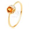Gyűrű 14K sárga színű aranyból - keskeny holdsarló, sárga citrin, cirkóniákkal átlászó színben