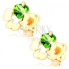 Beszúrós fülbevaló 14K sárga aranyból - négylevelű lóhere kivágással, zöld cirkónia
