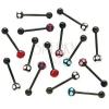 Fekete nyelv piercing - cirkonköves súlyzó színes kövekkel