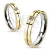Nemesacél gyűrű - arany és ezüst színek, egy kerek cirkónia
