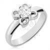 Acél gyűrű ezüst színben, virág átlátszó cirkóniával