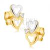 Arany kétszínű fülbevaló - szabálytalan szívkörvonal, kis cirkónia