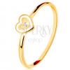 14K sárga arany gyűrű - szívecske fehér szélekkel és átlátszó cirkóniával