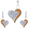 Ezüst fülbevaló és medál szett - cirkóniák, szívek és arany színű sáv